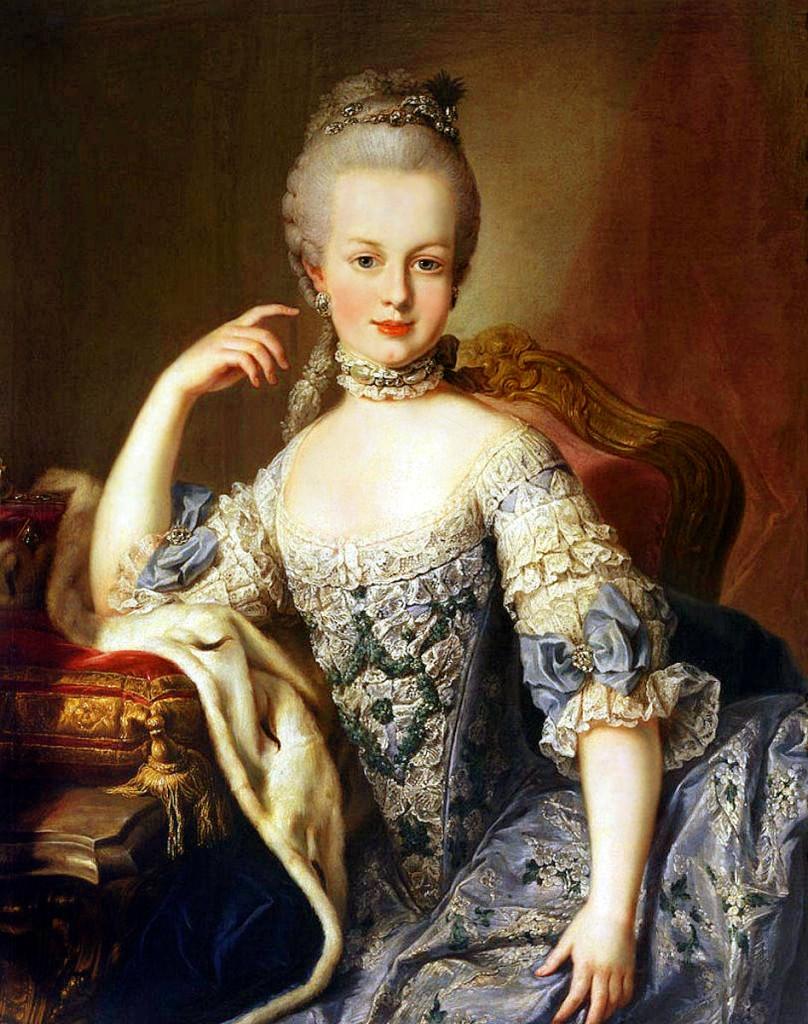 Có thể thấy ren được dùng để trang trí rất nhiều trên trang phục của hoàng hậu Marie Antoinette, tranh chân dung năm 1767. Nguồn: wiki