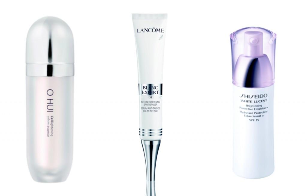 Song song với việc làm trắng sáng da, bạn vẫn cần phải bổ sung sản phẩm chăm sóc giúp hỗ trợ việc làm trắng sáng thêm hoàn hơn. Tinh chất điều chỉnh sắc da Celllightening Prism Essence, O HUI; Tinh chất xóa mờ đốm nâu và dưỡng trắng sâu, 2.700.000 đồng, Lancôme; Sản phẩm dưỡng ẩm và làm trắng sáng da, 1.100.000 đồng, Shiseido.