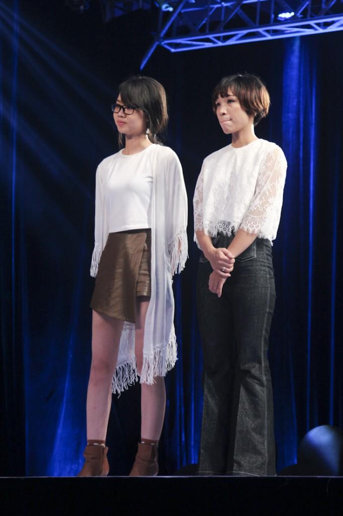 Huyền Trang (phải) và Lê Trang là hai thí sinh phải dừng cuộc chơi