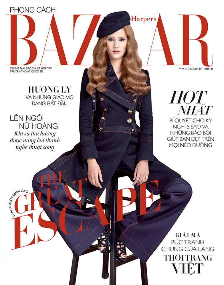 Và cuối cùng, Harper's Bazaar Việt Nam với chủ đề Great Escape cho tháng 6, người mẫu Hương Ly đã có một tạo hình ảnh bìa mới lạ với trang phục Burberry