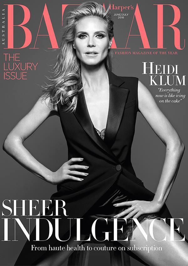Ảnh bìa của Harper's Bazaar Úc lá shot hình của người mẫu kiêm dẫn chương trình Heidi Klum