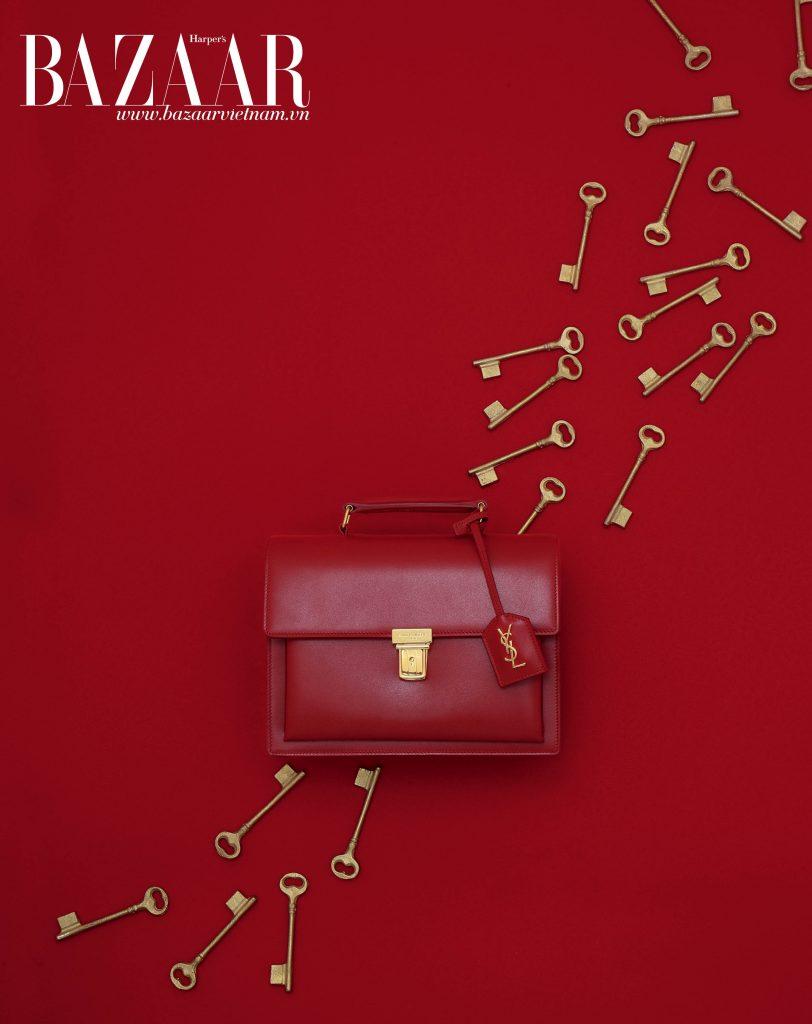 Túi Medium High School bằng da màu đỏ, Saint Laurent