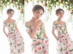 Ái Phương khoe vẻ đẹp mỏng manh bên hoa trước thềm năm mới