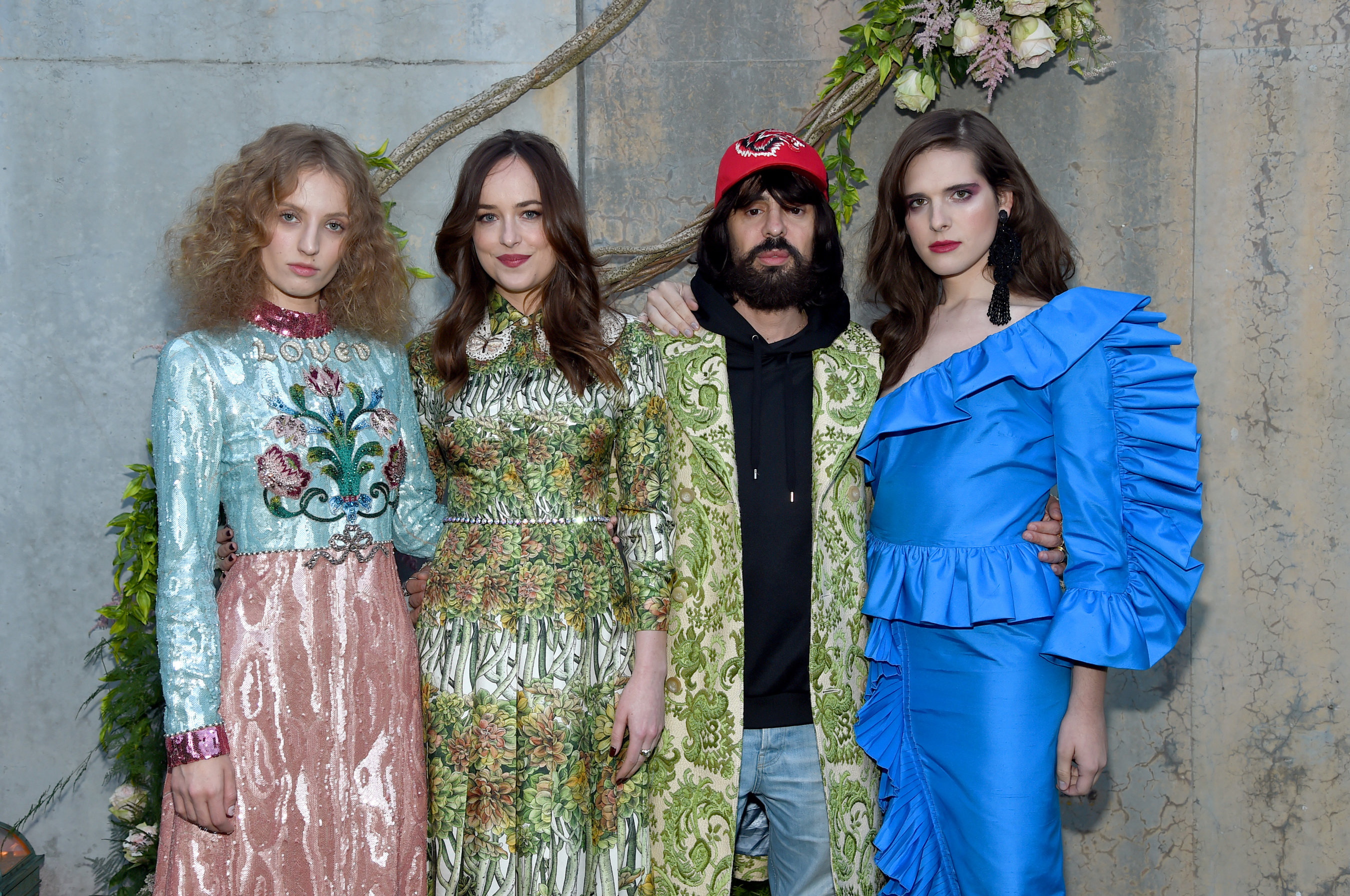 NEW YORK, NY - MAY 02: Petra Collins, Dakota Johnson, Alessandro Michele and Hari Nef attend the Gucci Bloom, Fragrance Launch Event at MoMA PS.1 on May 2, 2017 in New York City. (Photo by Jamie McCarthy/Getty Images for Gucci)