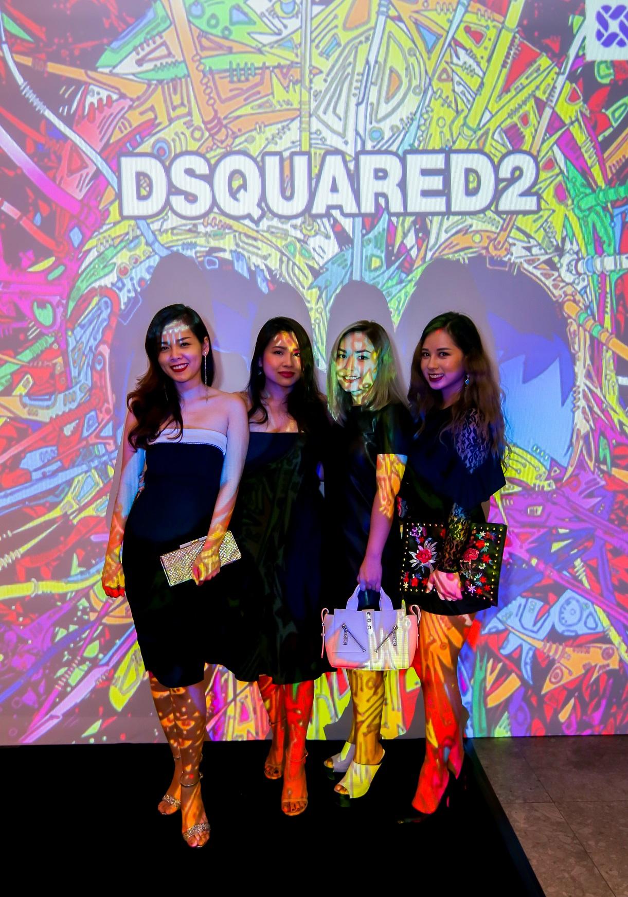 Á hậu Áo Dài Đặng Thùy Giang (phải) cũng xuất hiện tại đêm tiệc của thương hiệu Dsquared2.