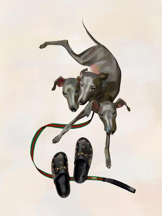 Cerberus, chú chó ba đầu canh cửa địa ngục. Bức tranh được thể hiện theo dạng thức nhẹ nhàng hơn so với phiên bản trong thần thoại.