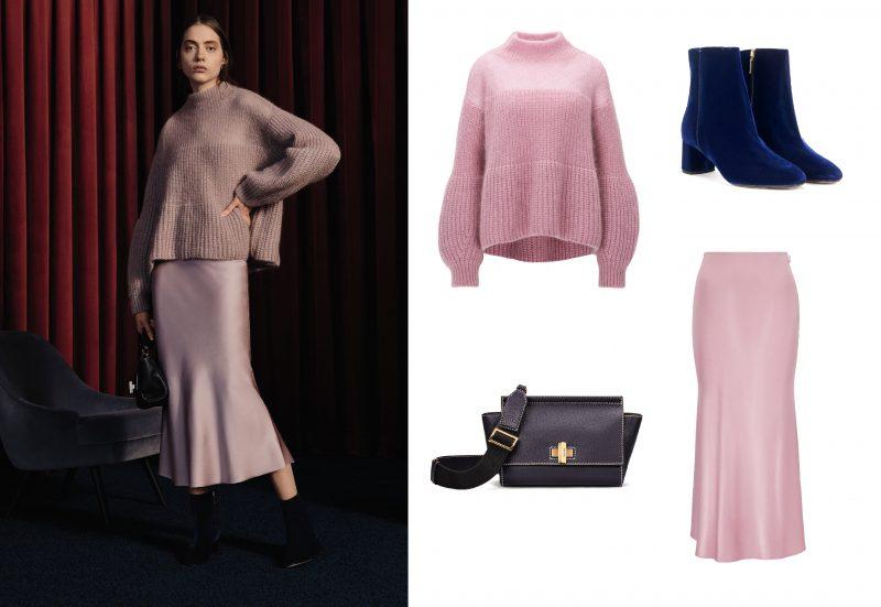 Bí quyết thời trang của Hugo Boss: (1) Áo len chui đầu; (2) Váy; (3) Túi da; (4) Boot nhung cao gót.