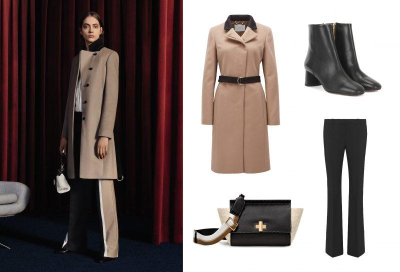 Bí quyết thời trang của Hugo Boss: (1) Áo khoác; (2) Quần dài; (3) Túi da; (4) Boot da.