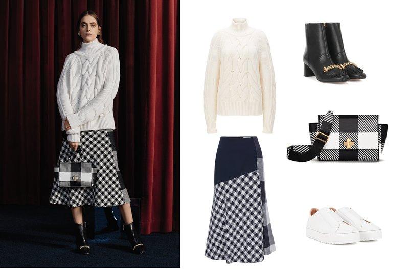 Bí quyết thời trang của Hugo Boss: (1) Áo len trắng; (2) Váy kẻ ô; (3) Boot da; (4) Túi kẻ ô; (5) Boot da cao gót hoặc Giày thể thao không dây.