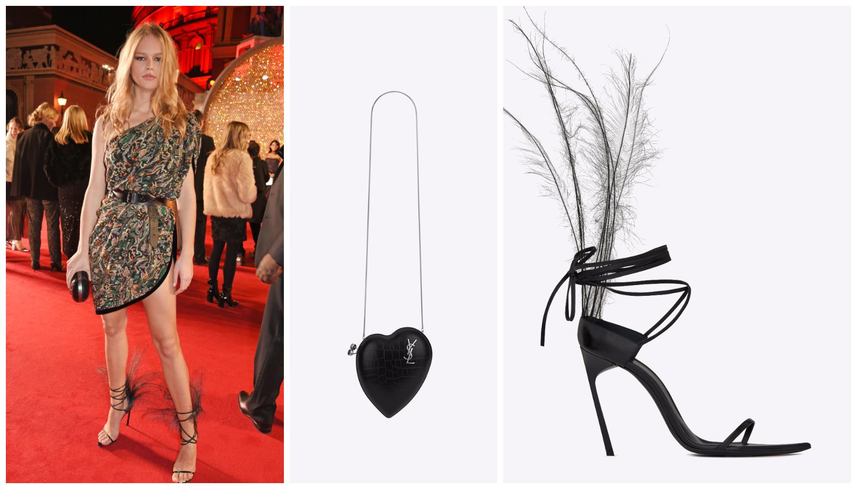 Người mẫu của năm 2015, Anna Ewers cá tính trong trang phục họa tiết và cầm ví của Saint Laurent. Điểm nhấn chính là đôi sandals đính lông ấn tượng từ BST Xuân 2018 của nhà mốt.