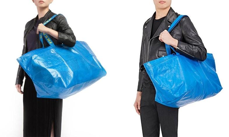 Túi Balenciaga (trái) và Ikea (phải)