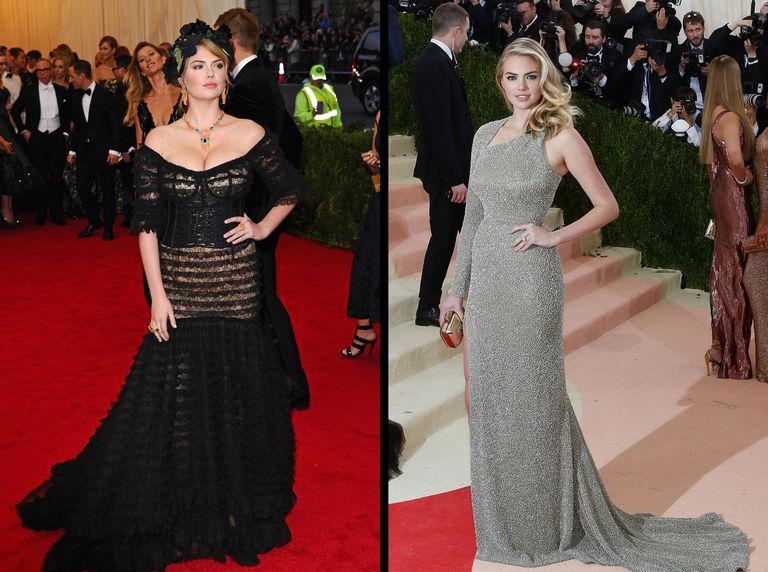 Kate Upton tại Met Gala năm 2014 (trái) và 2016 (phải).