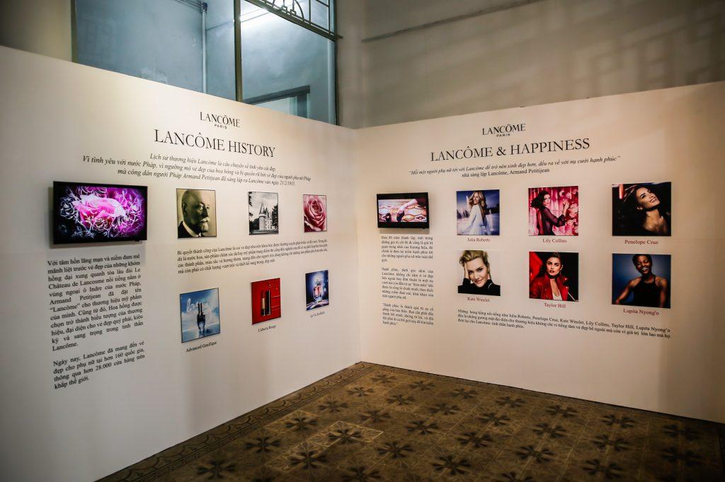 Lịch sử thành lập hơn 80 năm của thương hiệu trong triển lãm Maison Lancôme.