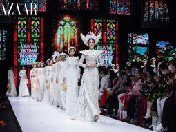 Nhà thiết kế Minh Châu trình diễn bộ sưu tập áo dài Kim Lang tại AVIFW 2020