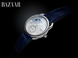 Đồng hồ Hermès Arceau Petite Lune biến kim cương, sapphire thành sao trên trời đêm