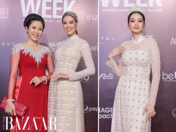 Cách chọn áo dài đi tiệc đẹp như hoa hậu Khánh Vân, Trúc Diễm trên thảm đỏ AVIFW 2020