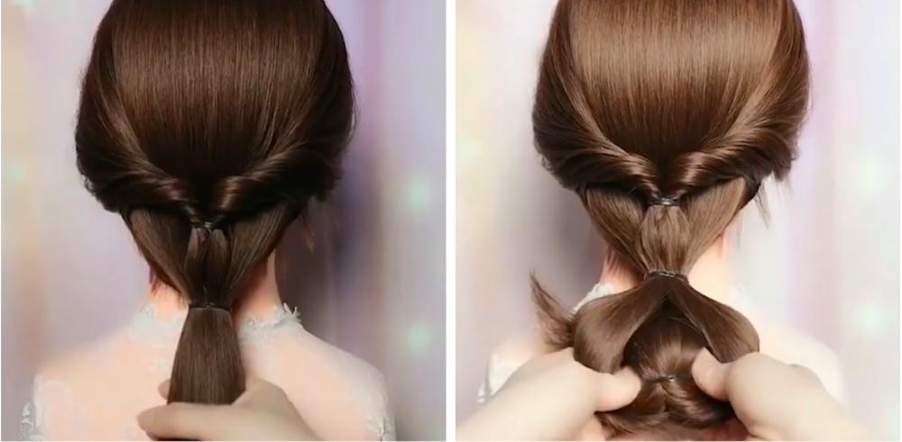 cách búi tóc thấp Hàn Quốc