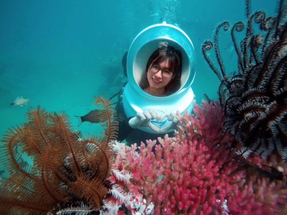 kinh nghiệm du lịch hòn tằm nha trang: đi bộ dưới biển