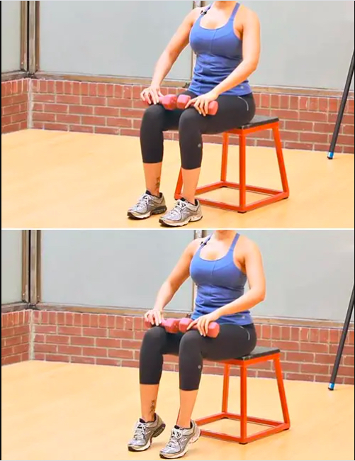 Ngồi nâng bắp chân với tạ