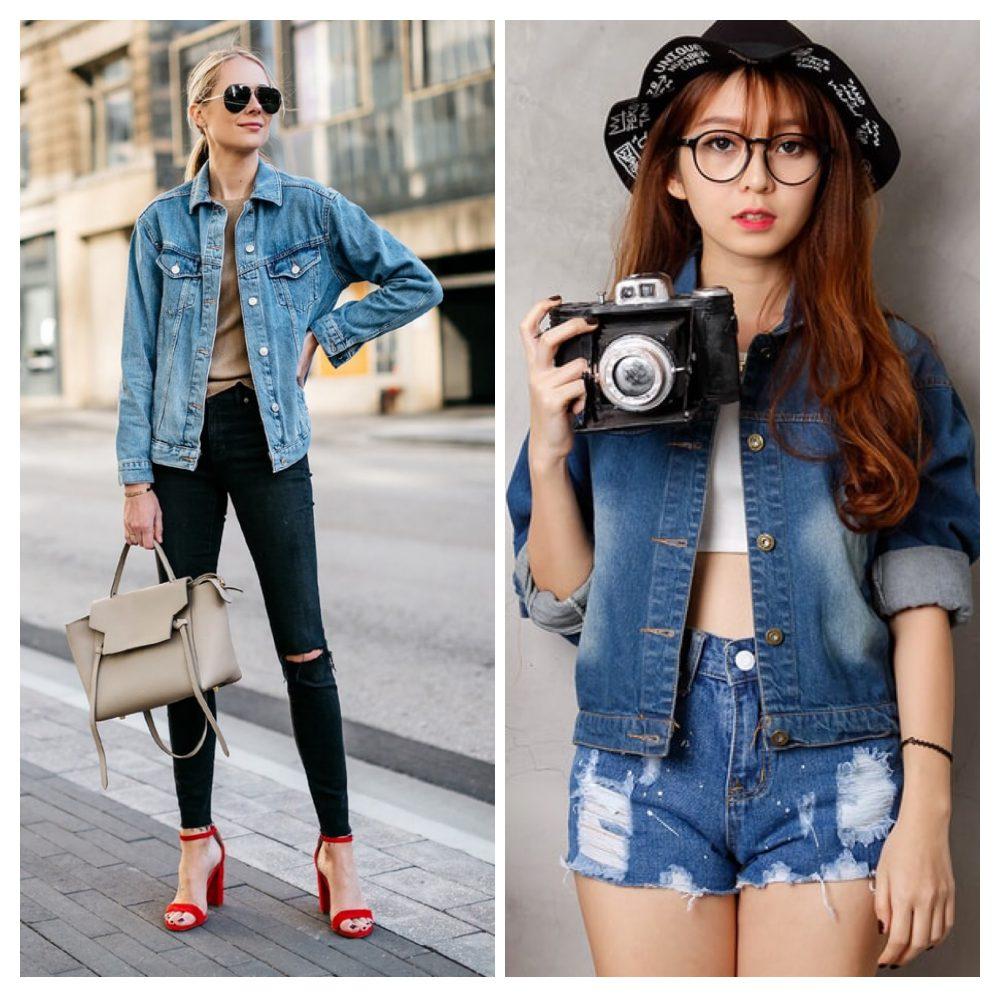 phối quần jean và áo jean