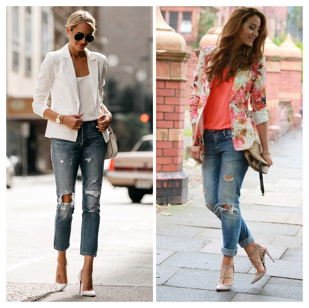 Cách phối đồ với quần jean rách và áo khoác
