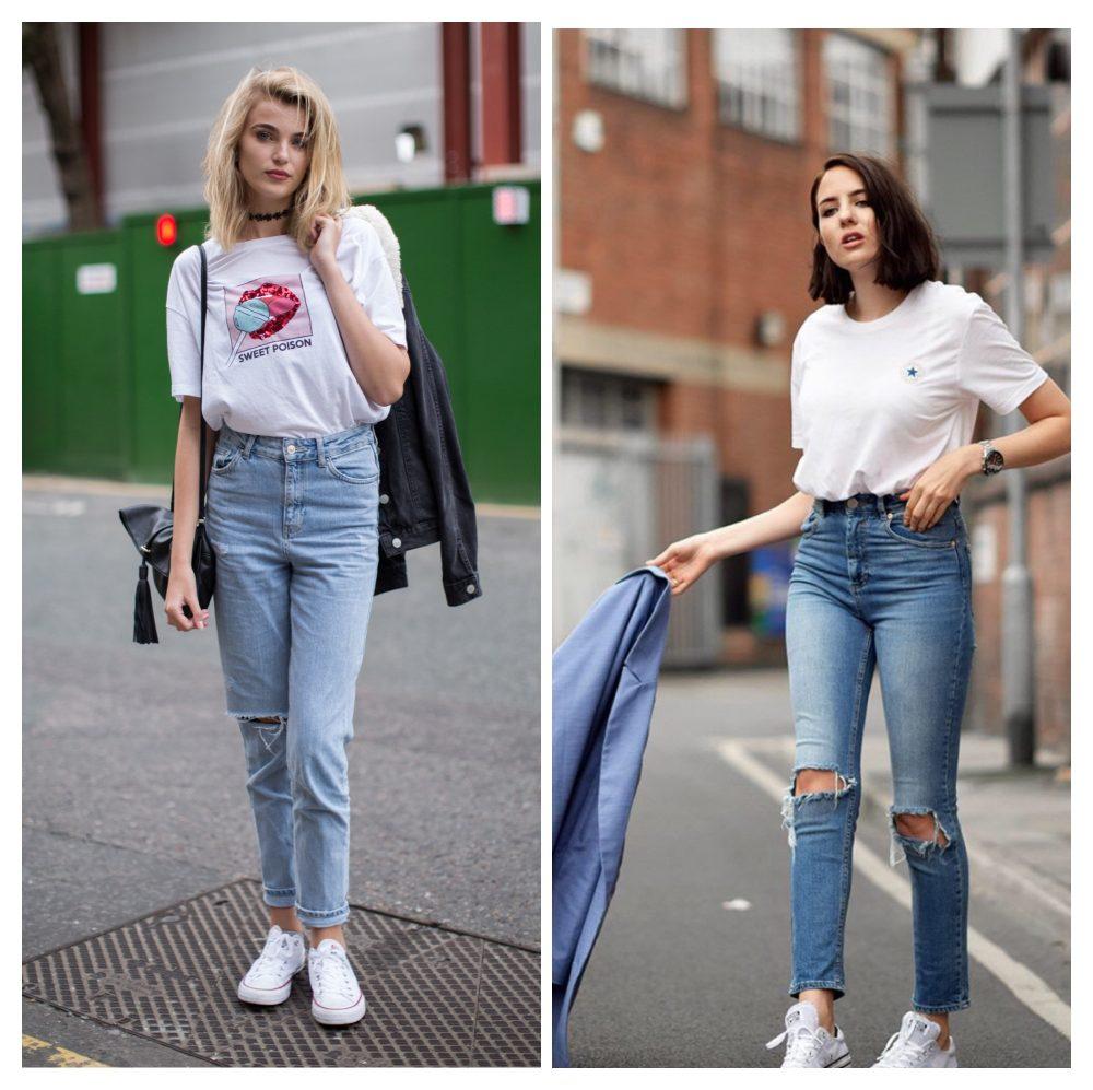 phối quần jean với áo phông