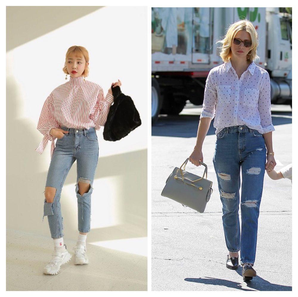 Cách phối đồ với quần jean rách và áo sơ mi