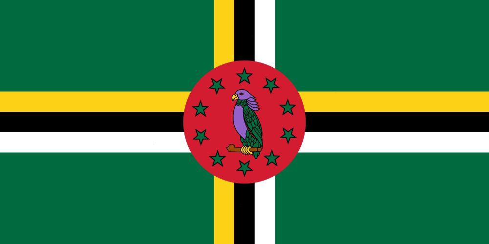 Biểu tượng vẹt màu tím trên cờ Dominic