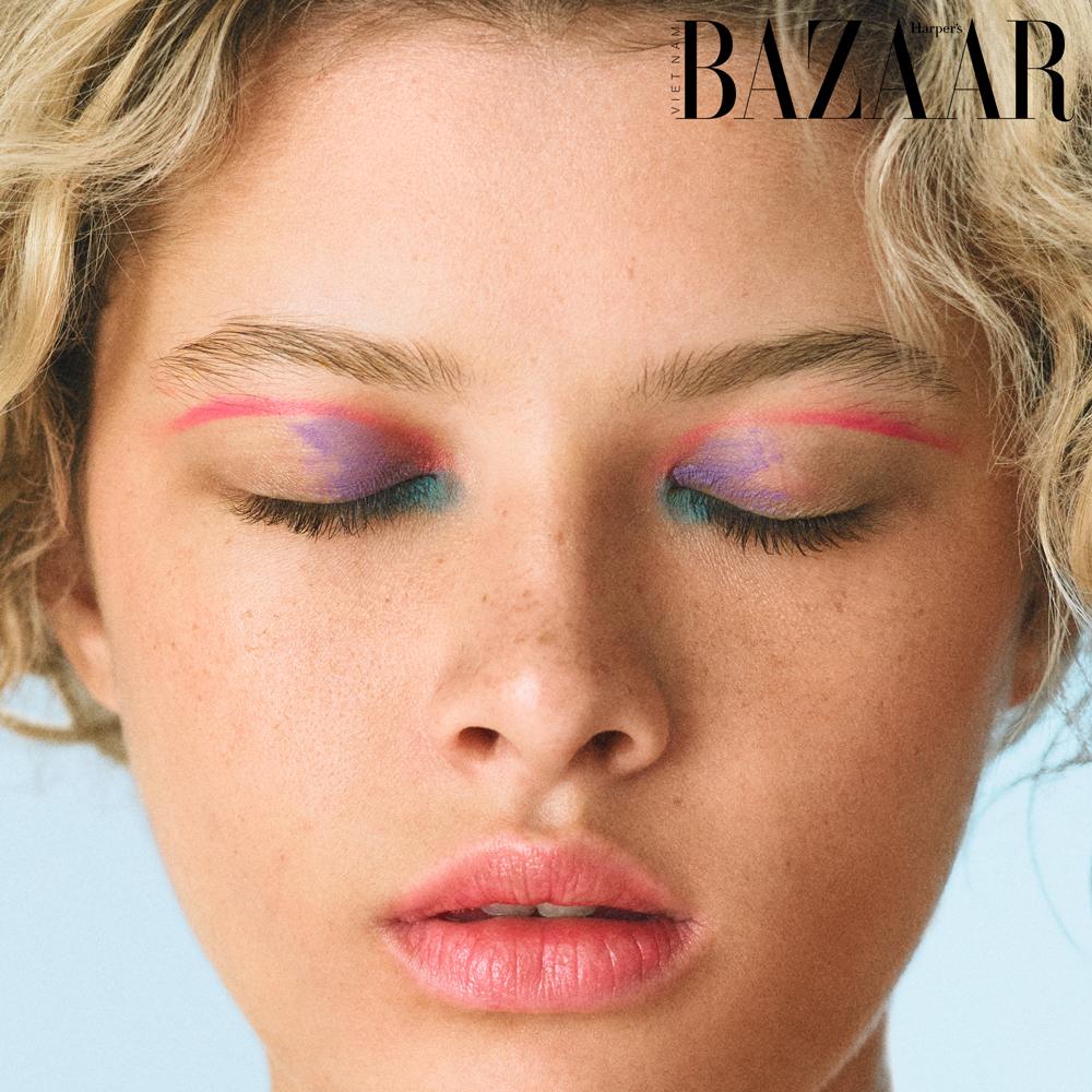Harper's Bazaar Việt Nam - xu hướng trang điểm màu mắt neon 2