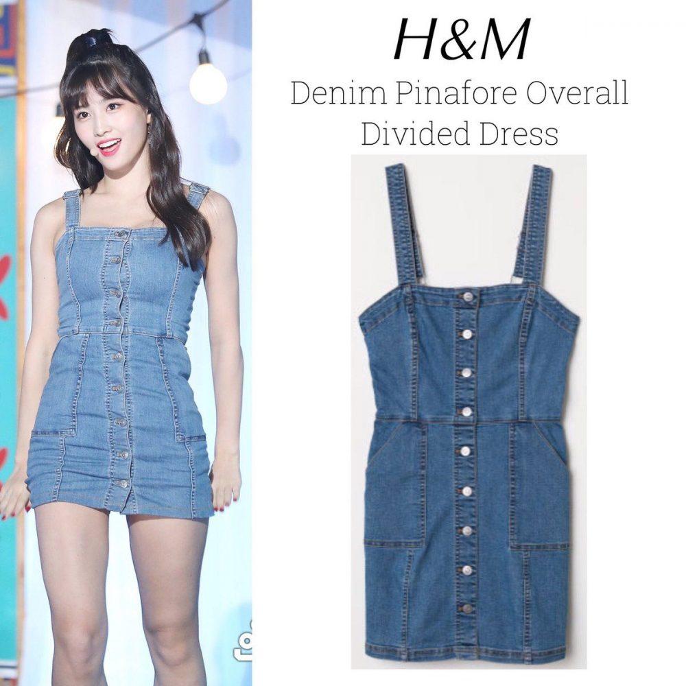 Thành viên Momo (nhóm Twice) mặc chiếc váy yếm jean của H&M