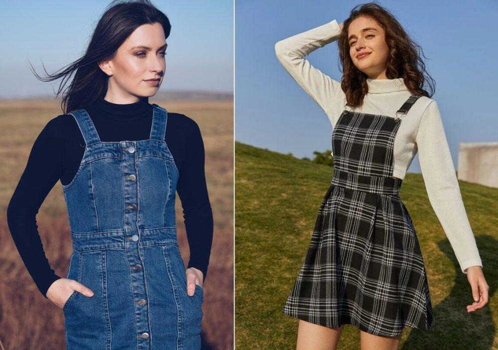 Váy yếm vải jean và họa tiết caro