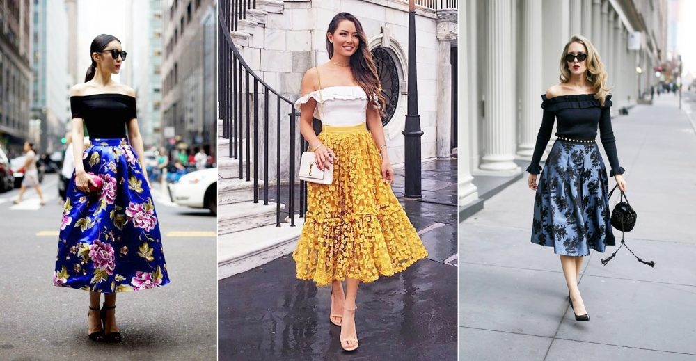 Váy vintage rất thích hợp với áo trễ vai