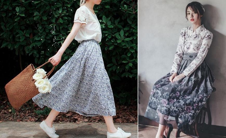 Kết hợp chân váy hoa xòe với áo sơ mi