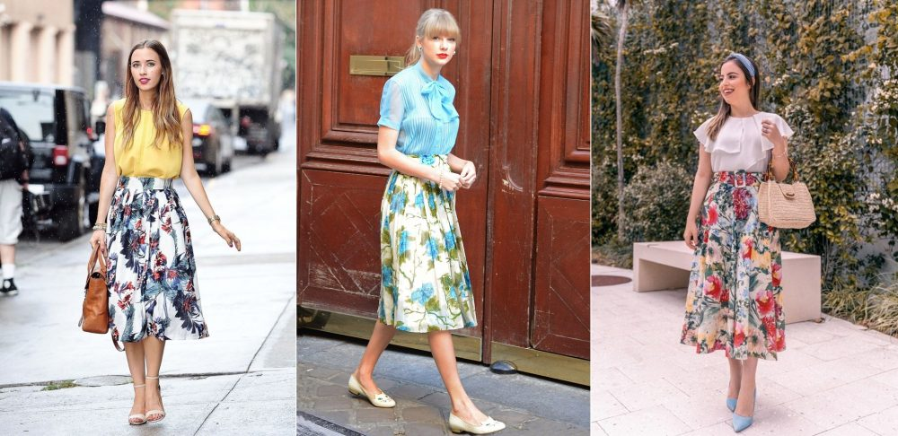Chân váy hoa xòe mặc với áo gì?