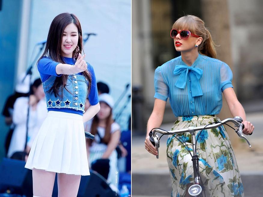 áo màu xanh dương kết hợp với váy màu gì