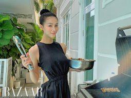 Dù chỉ ở nhà nướng BBQ, Phương Khánh cũng phải điệu với đầm cut out hở eo