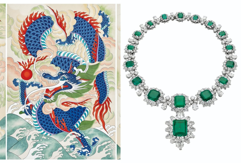 """Tranh màu bột """"Rồng xanh"""" của họa sỹ Oh Soon-kyeong và trang sức ngọc lục bảo của Bvlgari. Ảnh: glam.my."""