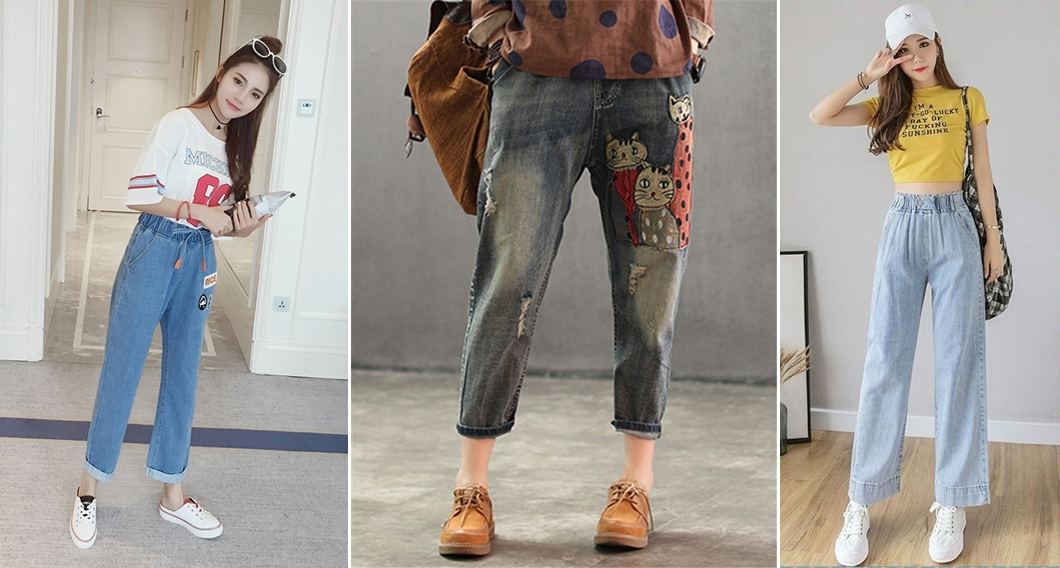 cách phối đồ với quần baggy jean lưng thun