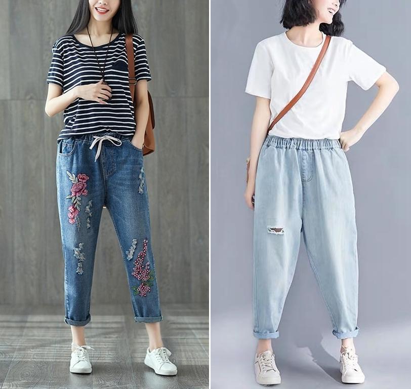 Quần baggy jean lưng thun mặc với áo gì?