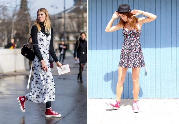 giày Converse đỏ thích hợp với cả đầm maxi và váy ngắn