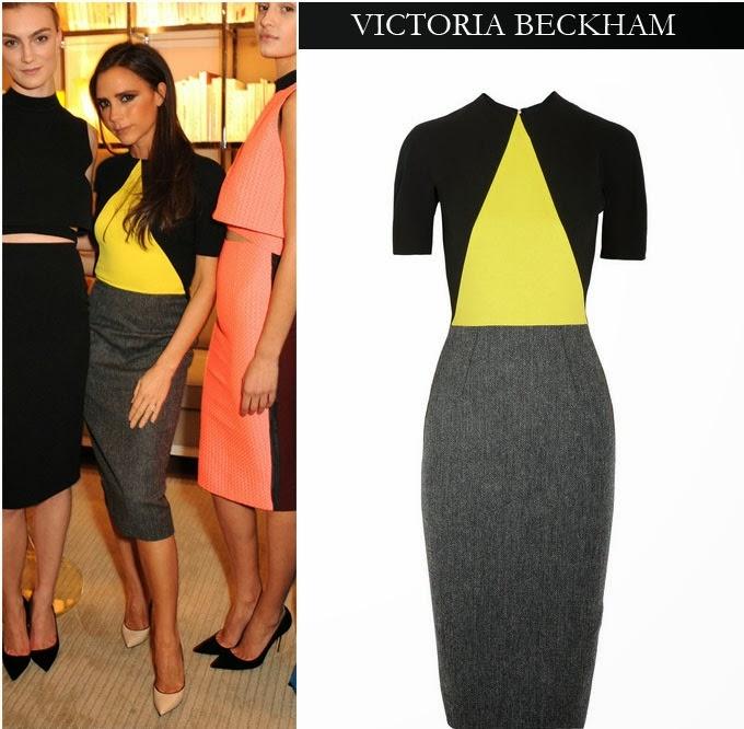 Victoria Beckham diện đầm xám phối vàng, đen