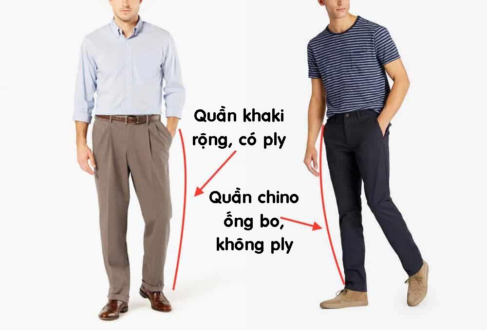 Phân biệt quần kaki và chinos